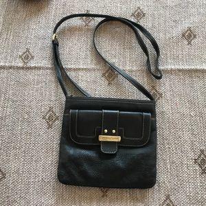 Franco Sarto black leather small crossbody bag 8x8